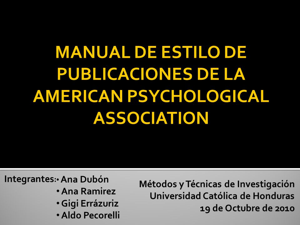 MANUAL DE ESTILO DE PUBLICACIONES DE LA AMERICAN PSYCHOLOGICAL ASSOCIATION