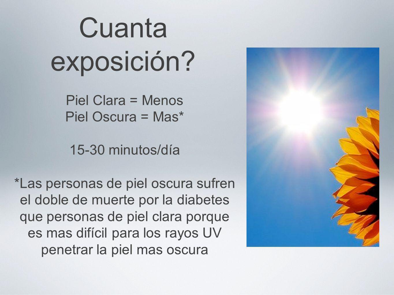 Cuanta exposición Piel Clara = Menos Piel Oscura = Mas*