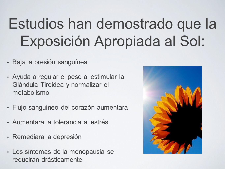 Estudios han demostrado que la Exposición Apropiada al Sol:
