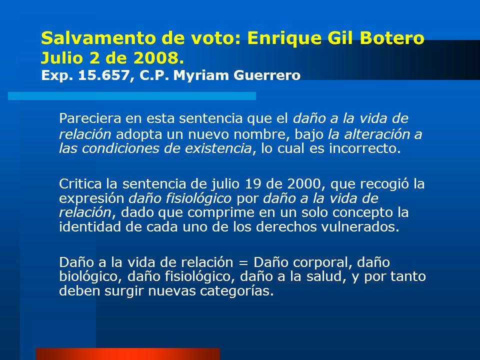 Salvamento de voto: Enrique Gil Botero Julio 2 de 2008. Exp. 15.657, C.P. Myriam Guerrero