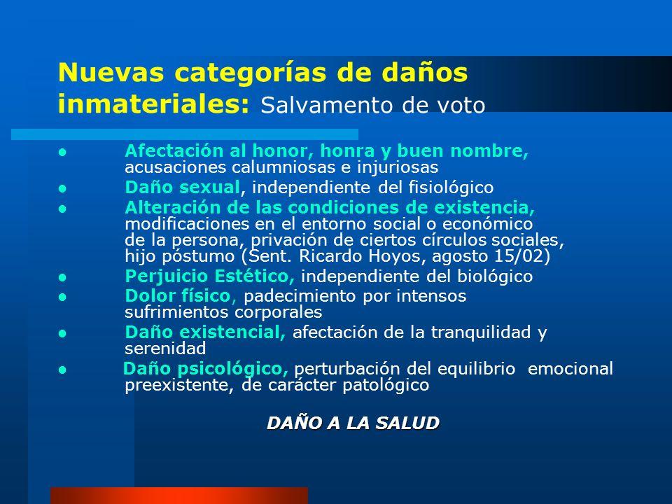 Nuevas categorías de daños inmateriales: Salvamento de voto
