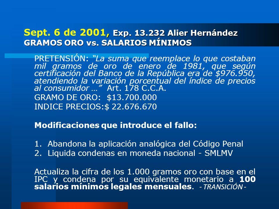 Sept. 6 de 2001, Exp. 13. 232 Alier Hernández GRAMOS ORO vs
