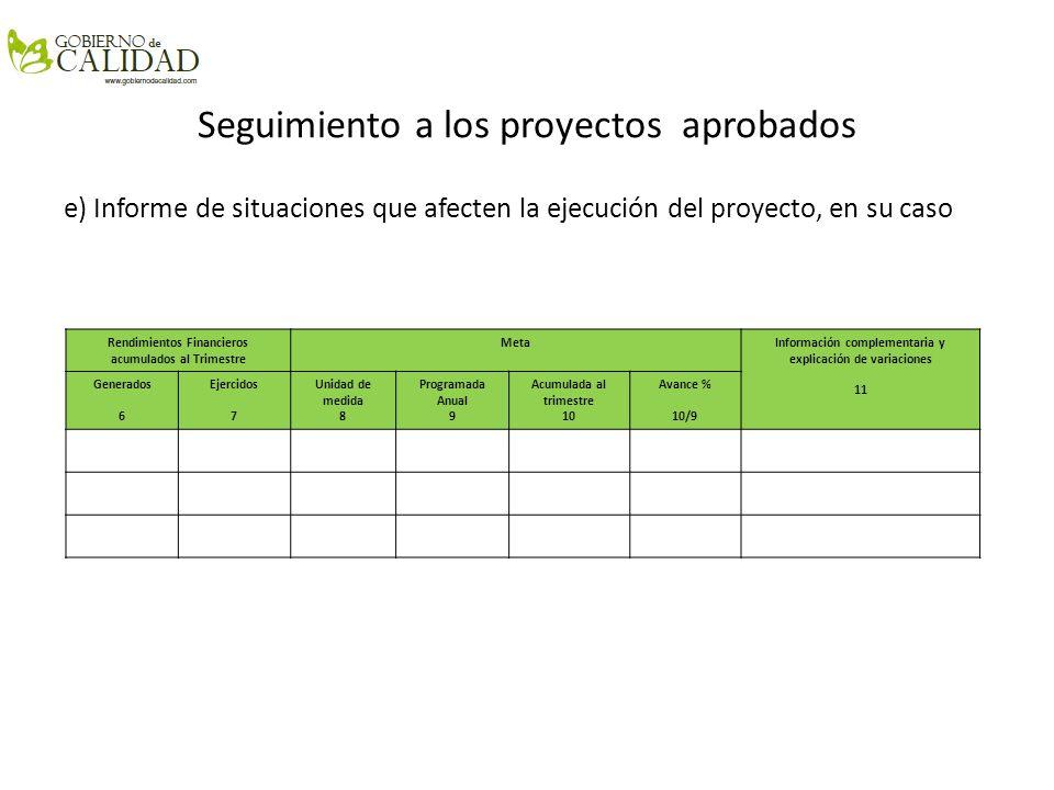 Seguimiento a los proyectos aprobados