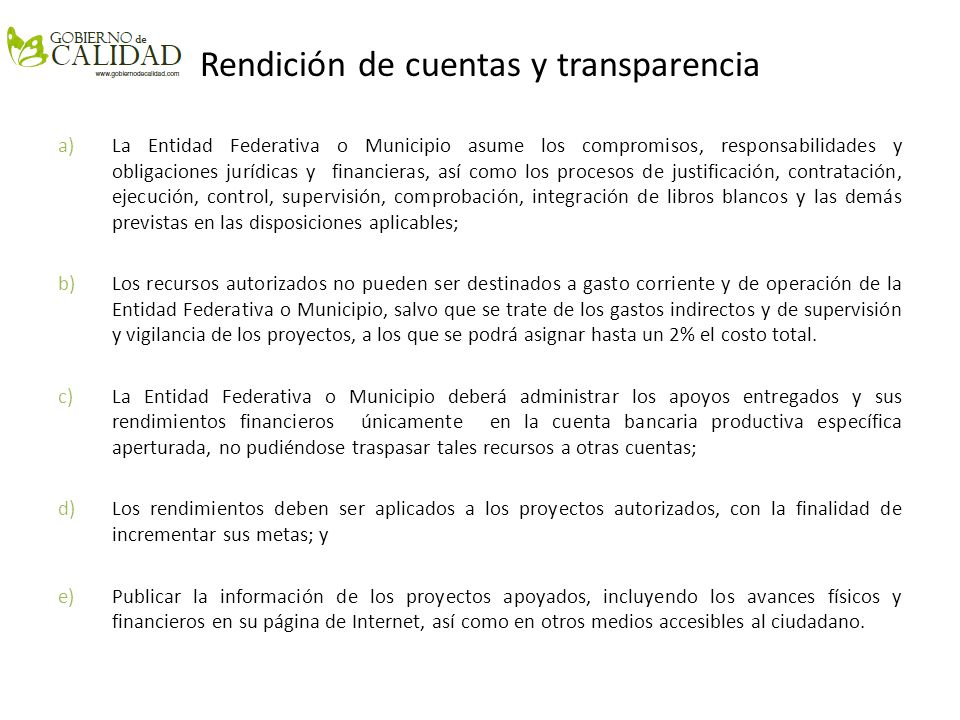 Rendición de cuentas y transparencia