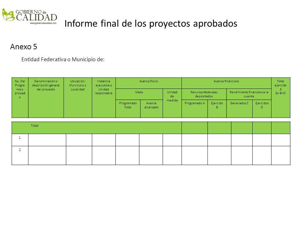Informe final de los proyectos aprobados