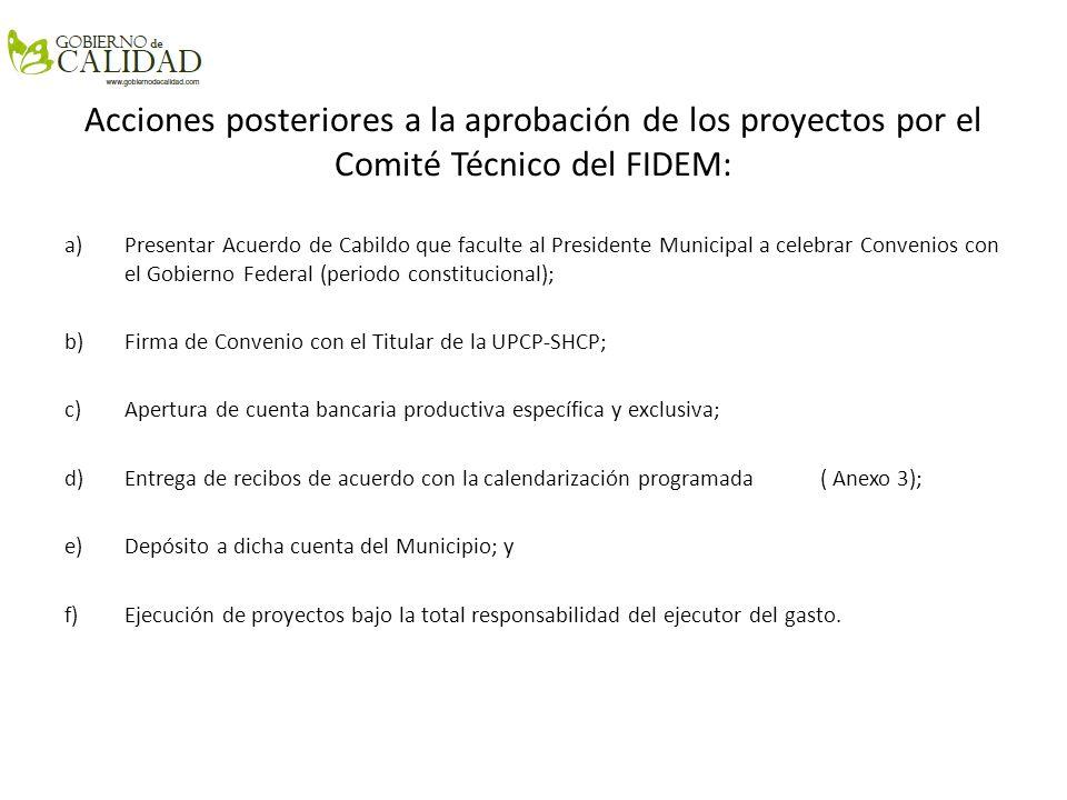 Acciones posteriores a la aprobación de los proyectos por el Comité Técnico del FIDEM: