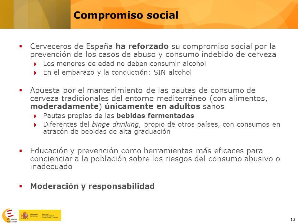 Compromiso social Cerveceros de España ha reforzado su compromiso social por la prevención de los casos de abuso y consumo indebido de cerveza.