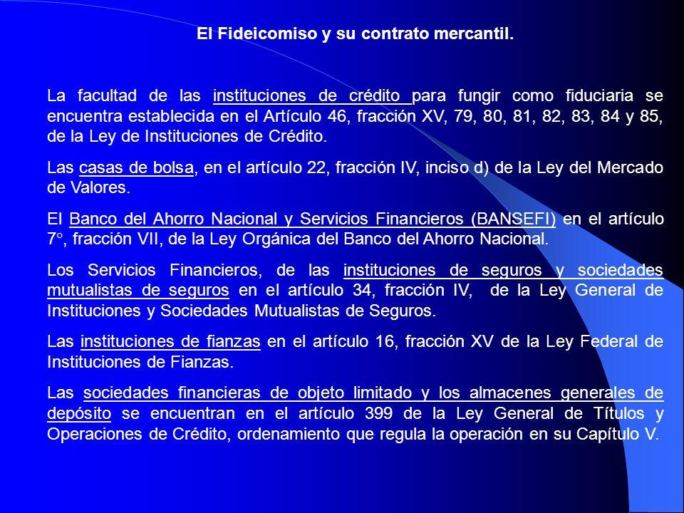 El Fideicomiso y su contrato mercantil.