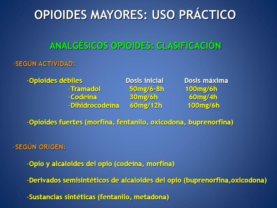 OPIOIDES MAYORES: USO PRÁCTICO ANALGÉSICOS OPIOIDES: CLASIFICACIÓN