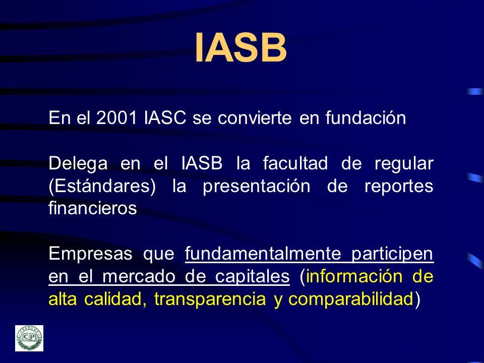 IASB En el 2001 IASC se convierte en fundación