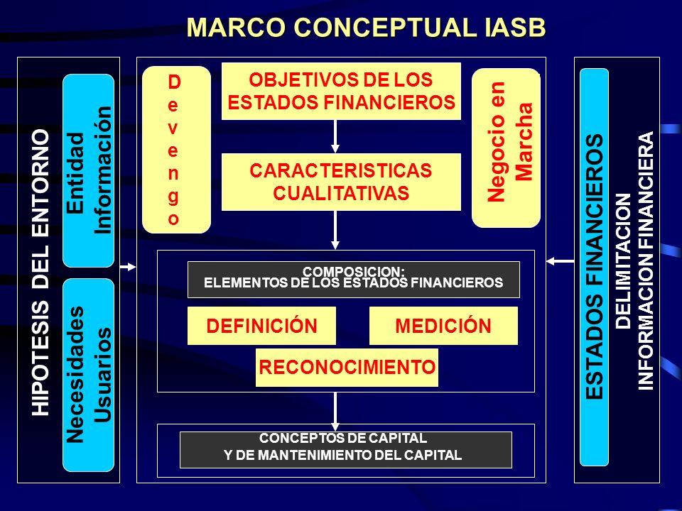 MARCO CONCEPTUAL IASB Negocio en Marcha Información Entidad