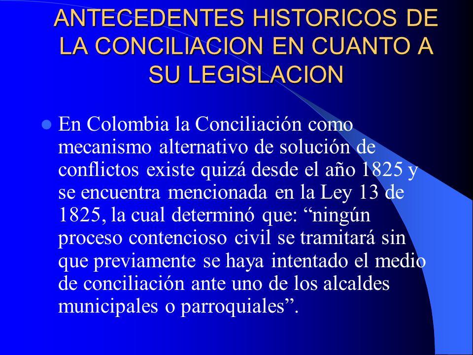 ANTECEDENTES HISTORICOS DE LA CONCILIACION EN CUANTO A SU LEGISLACION