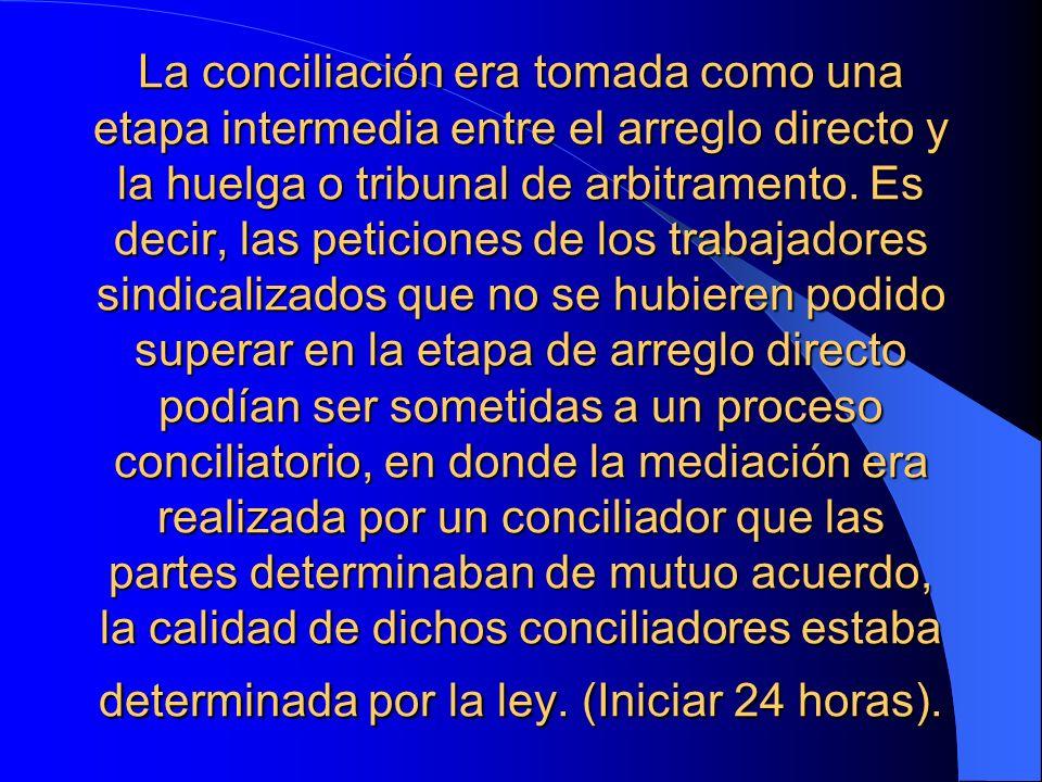 La conciliación era tomada como una etapa intermedia entre el arreglo directo y la huelga o tribunal de arbitramento.