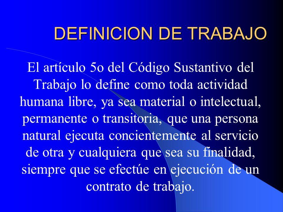DEFINICION DE TRABAJO