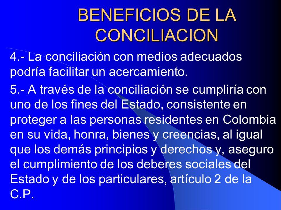 BENEFICIOS DE LA CONCILIACION
