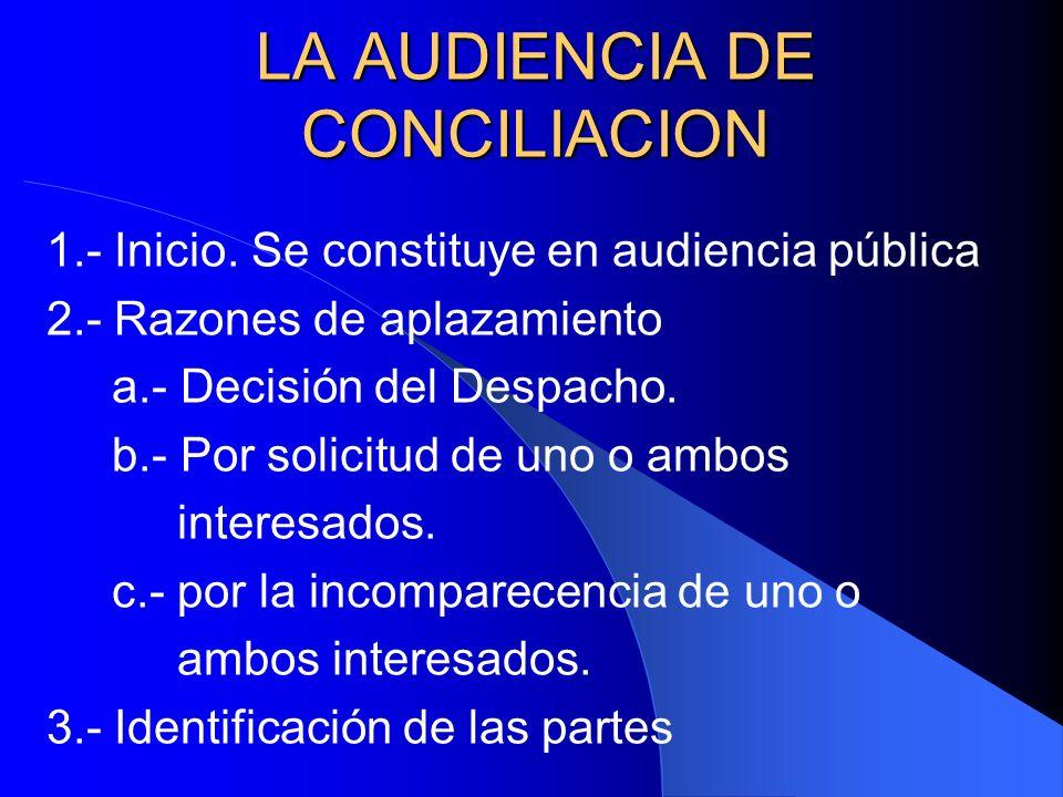 LA AUDIENCIA DE CONCILIACION