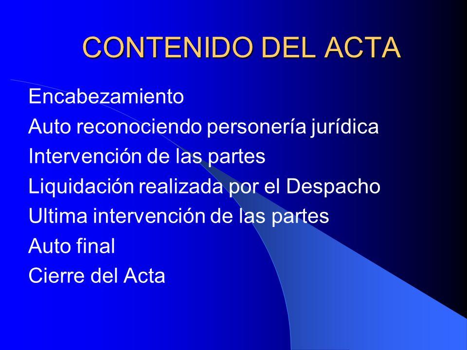 CONTENIDO DEL ACTA Encabezamiento