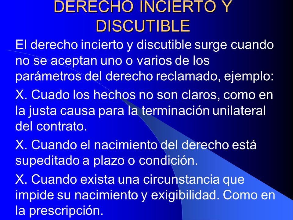 DERECHO INCIERTO Y DISCUTIBLE