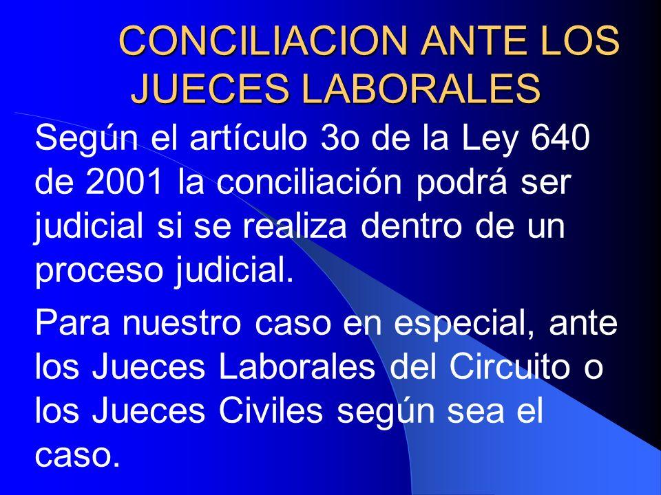 CONCILIACION ANTE LOS JUECES LABORALES