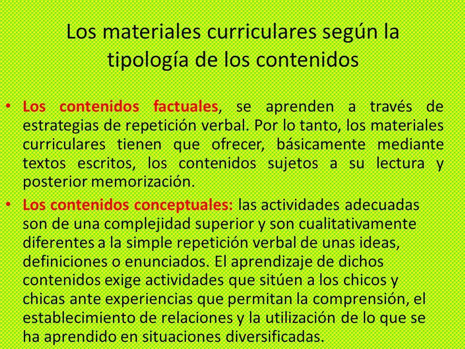Los materiales curriculares según la tipología de los contenidos