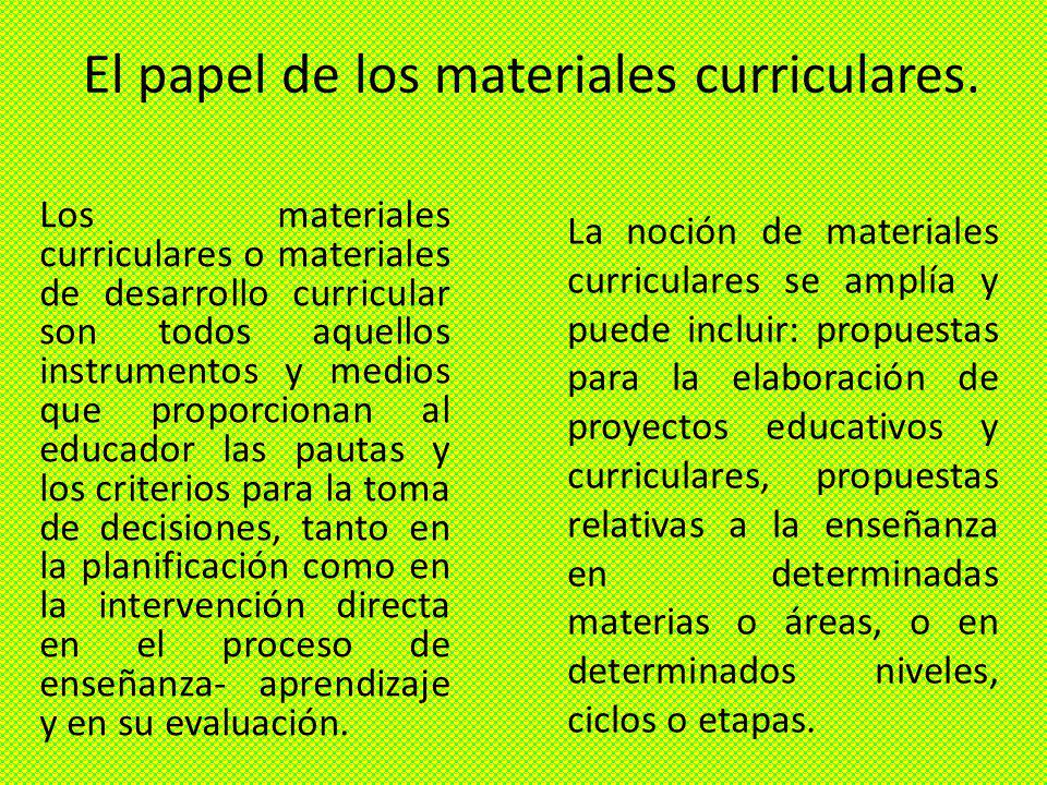 El papel de los materiales curriculares.
