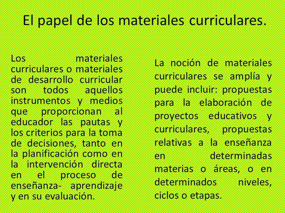 El papel de los materiales curriculares.
