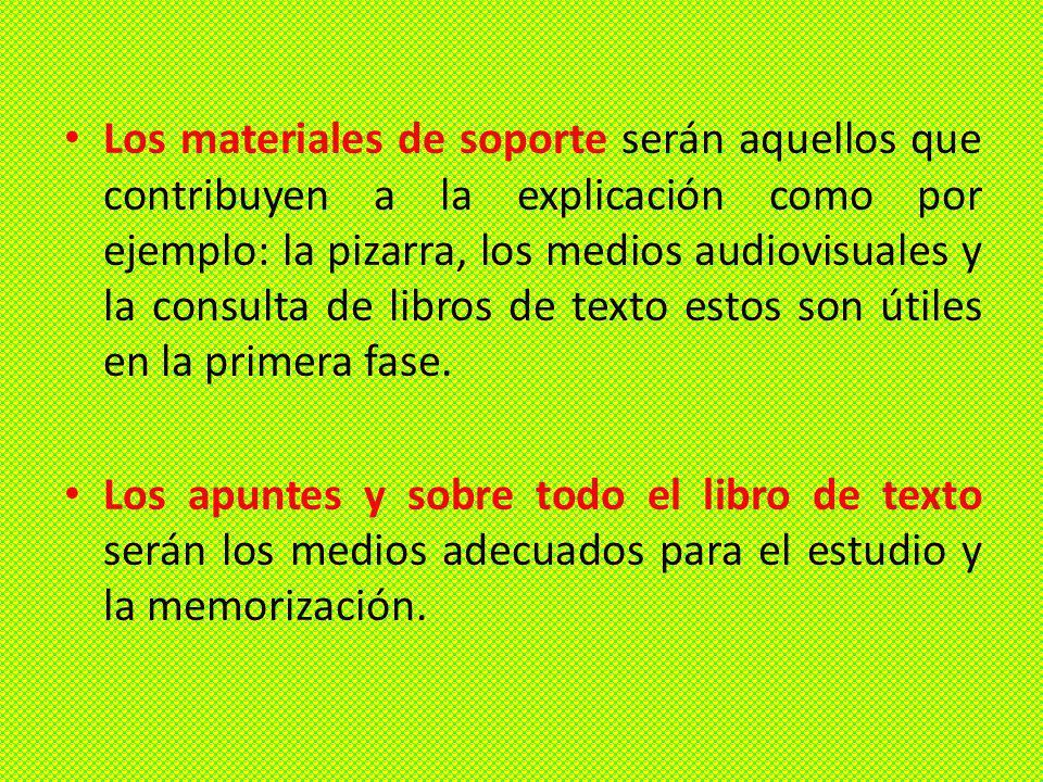 Los materiales de soporte serán aquellos que contribuyen a la explicación como por ejemplo: la pizarra, los medios audiovisuales y la consulta de libros de texto estos son útiles en la primera fase.