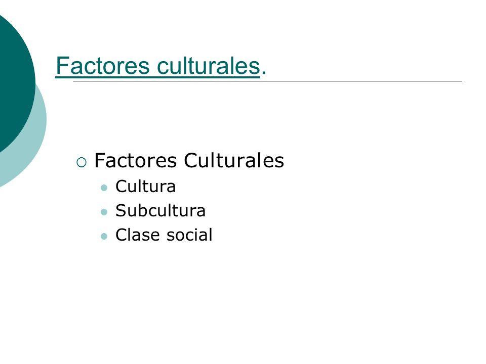Factores culturales. Factores Culturales Cultura Subcultura