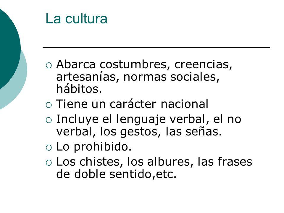 La cultura Abarca costumbres, creencias, artesanías, normas sociales, hábitos. Tiene un carácter nacional.