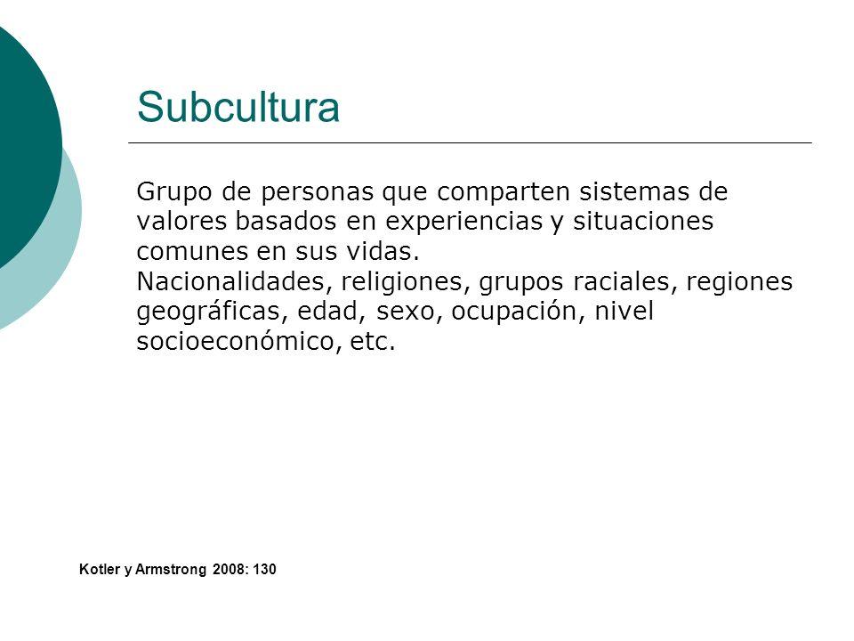 Subcultura Grupo de personas que comparten sistemas de valores basados en experiencias y situaciones comunes en sus vidas.