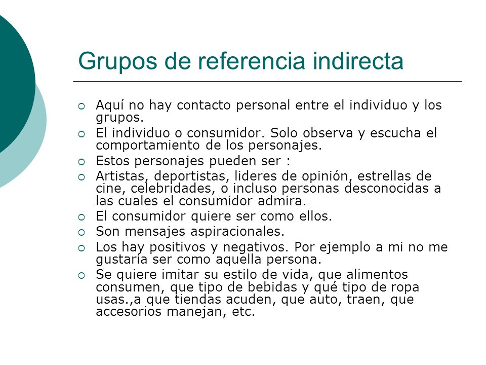 Grupos de referencia indirecta