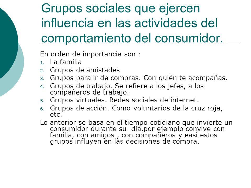 Grupos sociales que ejercen influencia en las actividades del comportamiento del consumidor.
