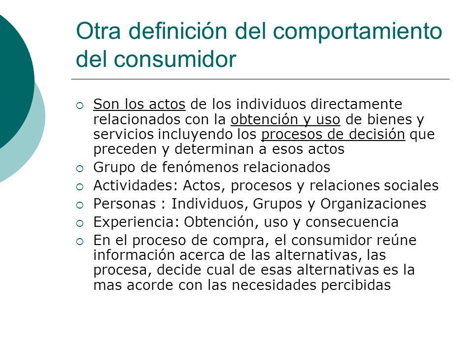 Otra definición del comportamiento del consumidor