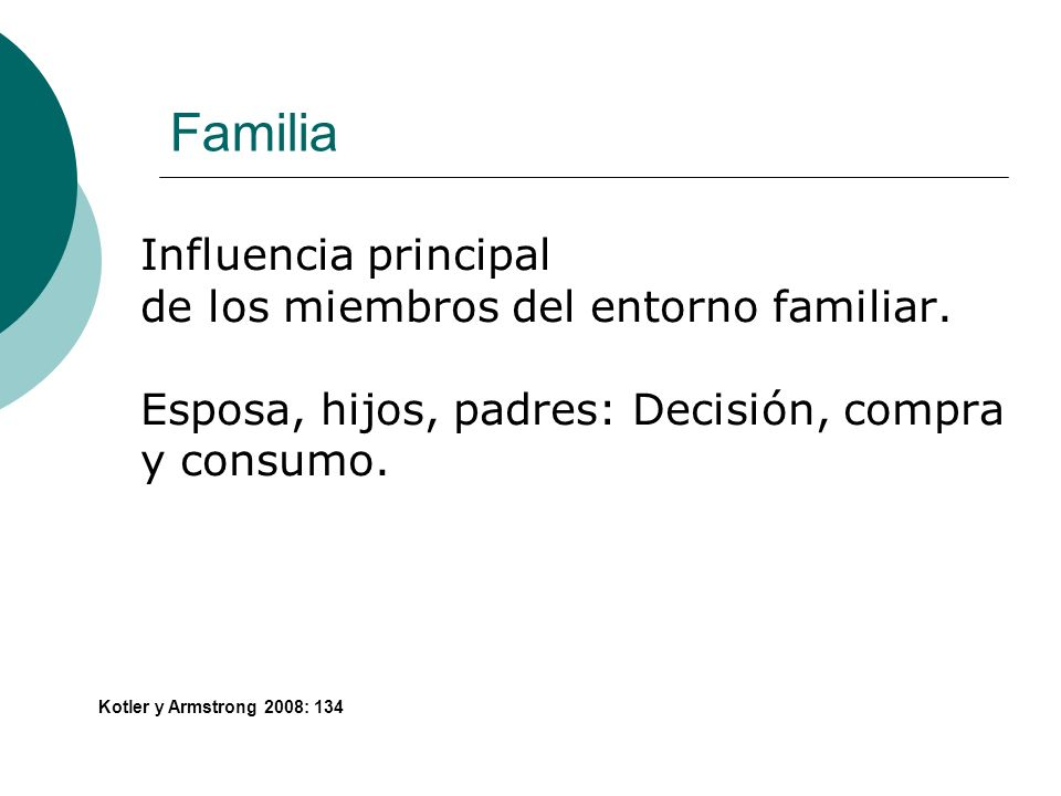 Familia Influencia principal de los miembros del entorno familiar.