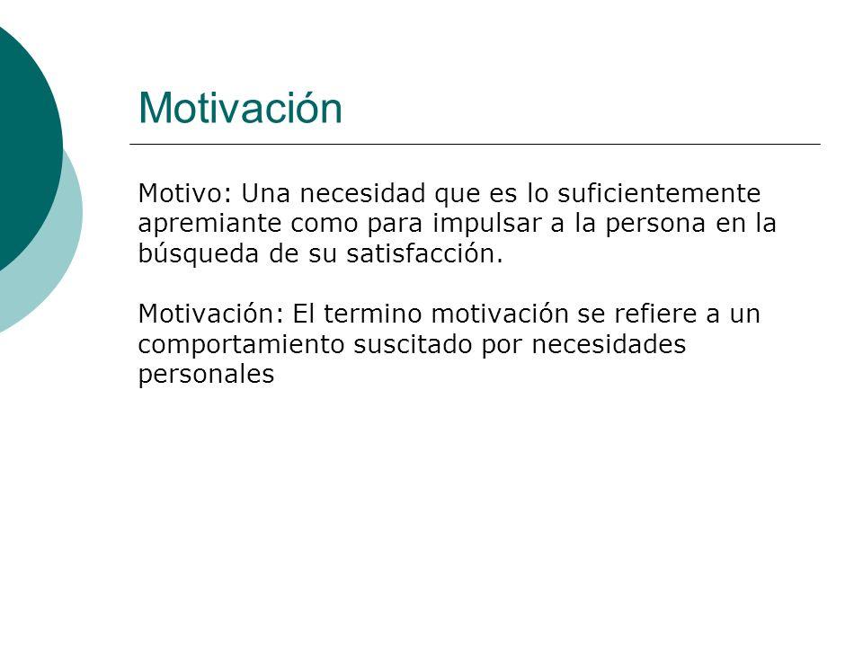 Motivación Motivo: Una necesidad que es lo suficientemente apremiante como para impulsar a la persona en la búsqueda de su satisfacción.