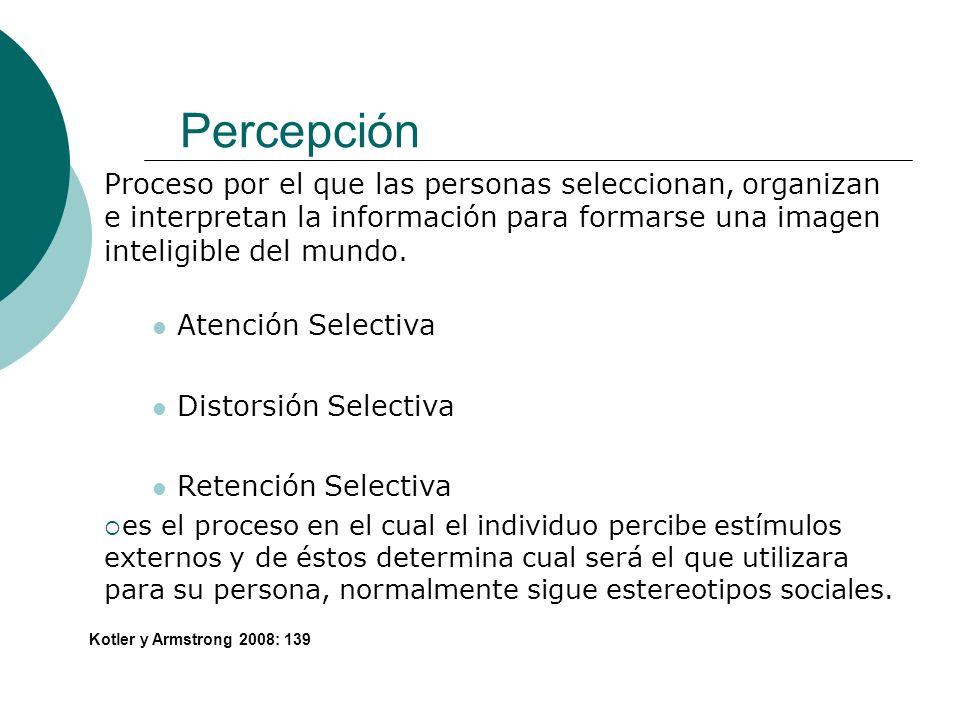 Percepción Proceso por el que las personas seleccionan, organizan e interpretan la información para formarse una imagen inteligible del mundo.