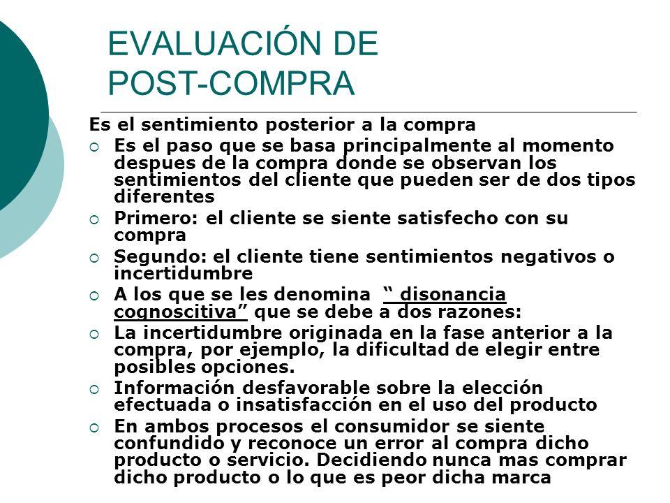 EVALUACIÓN DE POST-COMPRA