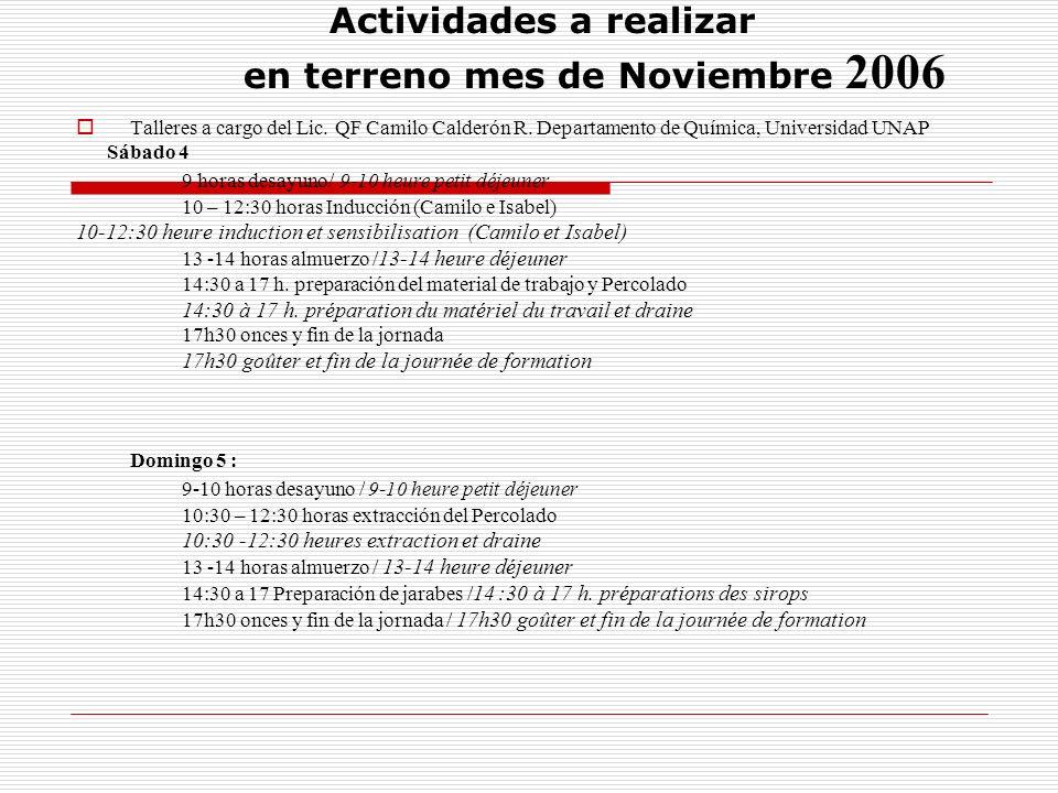 Actividades a realizar en terreno mes de Noviembre 2006