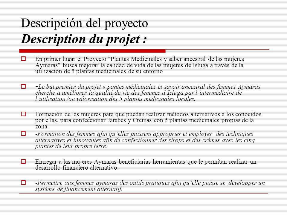 Descripción del proyecto Description du projet :