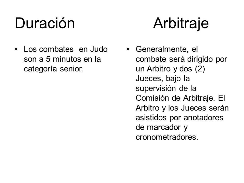Duración Arbitraje Los combates en Judo son a 5 minutos en la categoría senior.