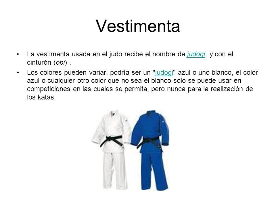 VestimentaLa vestimenta usada en el judo recibe el nombre de judogi, y con el cinturón (obi) .