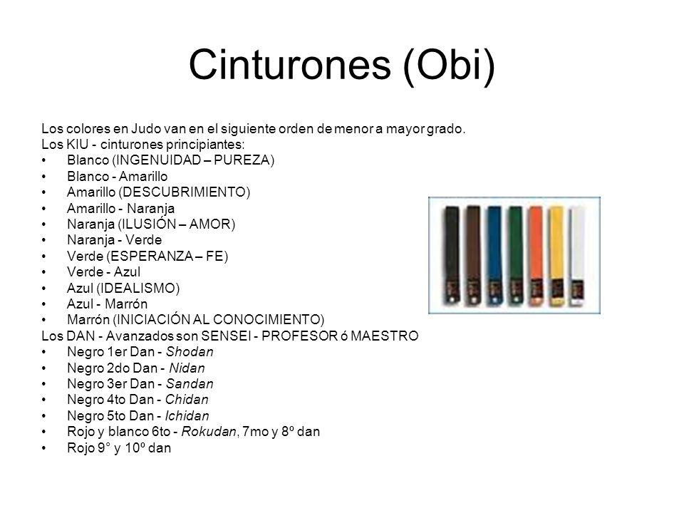 Cinturones (Obi) Los colores en Judo van en el siguiente orden de menor a mayor grado. Los KIU - cinturones principiantes: