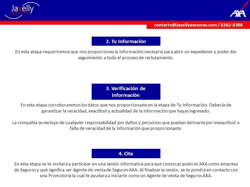 2. Tu Información 3. Verificación de Información 4. Cita