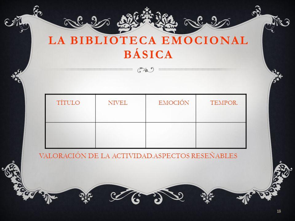 LA BIBLIOTECA EMOCIONAL BÁSICA