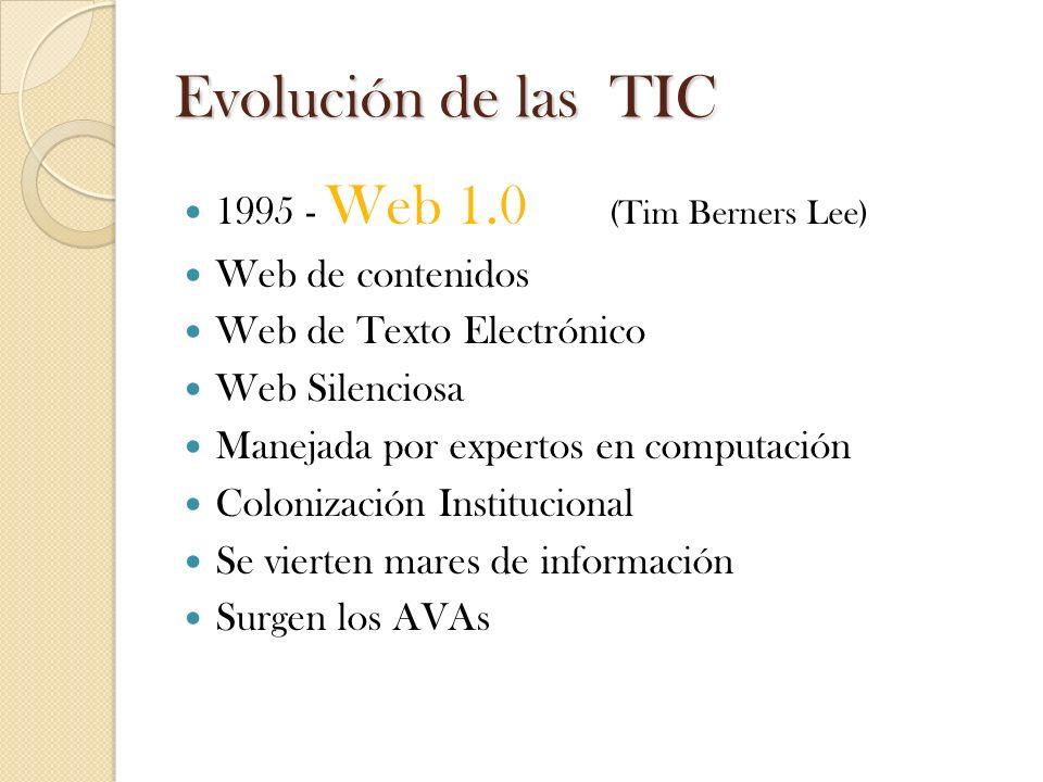 Evolución de las TIC 1995 - Web 1.0 (Tim Berners Lee)