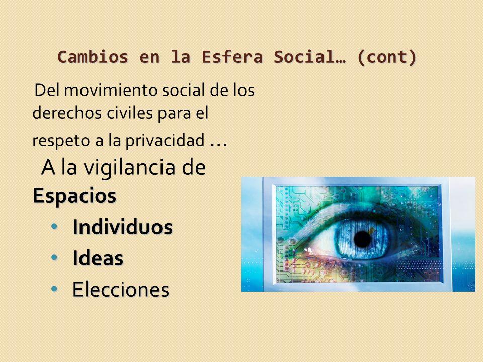 Cambios en la Esfera Social… (cont)