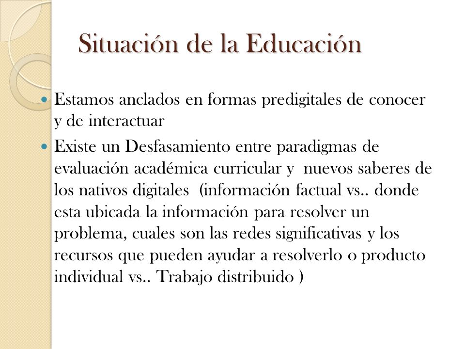 Situación de la Educación
