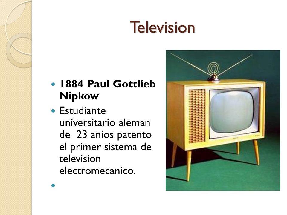 Television 1884 Paul Gottlieb Nipkow