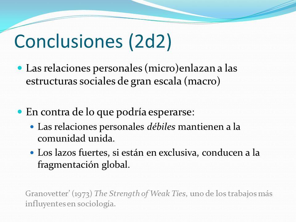 Conclusiones (2d2)Las relaciones personales (micro)enlazan a las estructuras sociales de gran escala (macro)