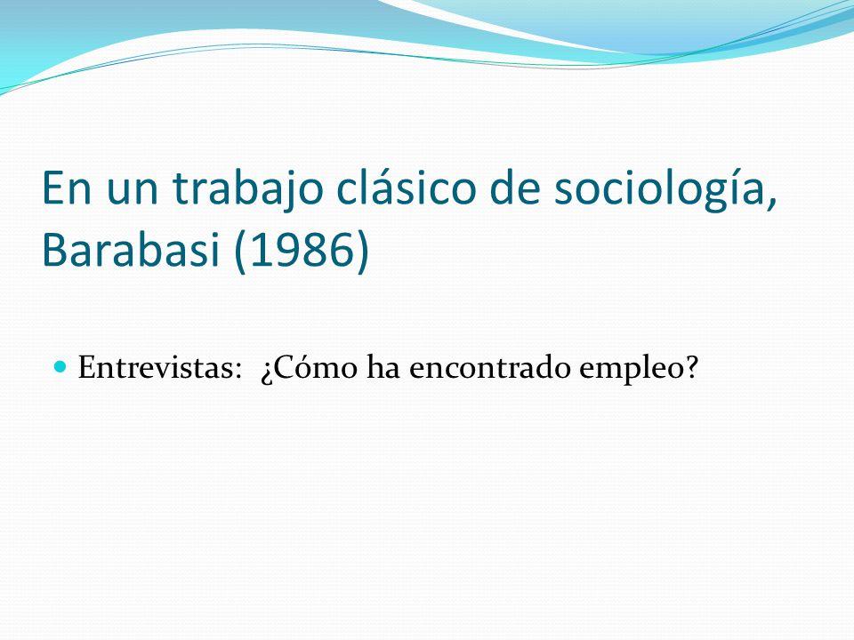 En un trabajo clásico de sociología, Barabasi (1986)